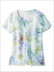 Floral Split Overlay Top by Alfred Dunner