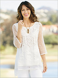 Floral Sequin Mesh Tunic