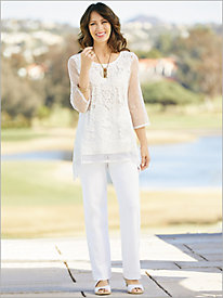 Floral Sequin Mesh Tunic & Look-Of-Linen Pants