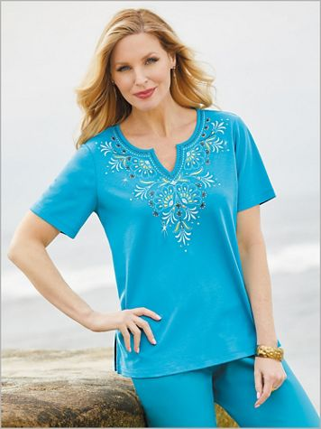 Scottsdale Scroll Yoke Embroidery Top by Alfred Dunner - Image 2 of 2