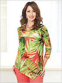 Parrot Cay Leaves Print Top by Alfred Dunner