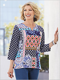 Batik Patch Knit Top by Alfred Dunner