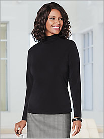 Crepe Knit Shirred Mock by Brownstone Studio®