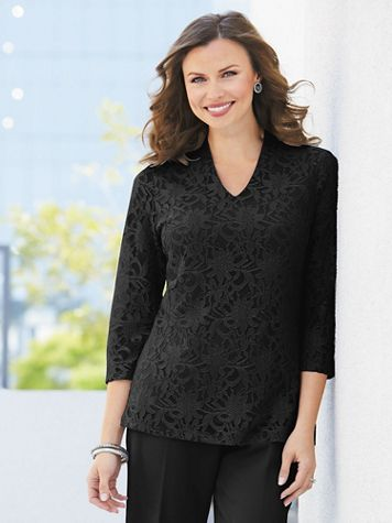 Stretch Knit Lace High-V Top - Image 1 of 1
