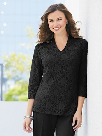 Stretch Knit Lace High-V Top - Image 0 of 1