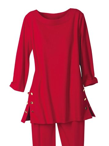 Gold Button Ponte Knit Tunic by Brownstone Studio® - Image 1 of 5