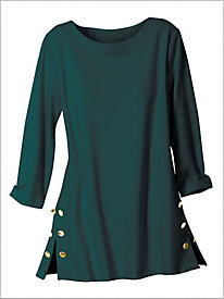Gold Button Ponte Knit Tunic by Brownstone Studio®