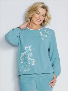 Embroidered Fleece Top by Alfred Dunner