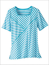 Turks And Caicos Spliced Stripe Tee by Alfred Dunner