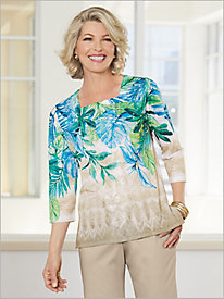 Scottsdale Tropical Leaves With Lace Top by Alfred Dunner