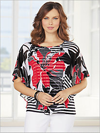 Barcelona Floral Stripe Overlay Top by Alfred Dunner
