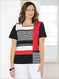 Barcelona Lace Grommet Colorblock Tee by Alfred Dunner