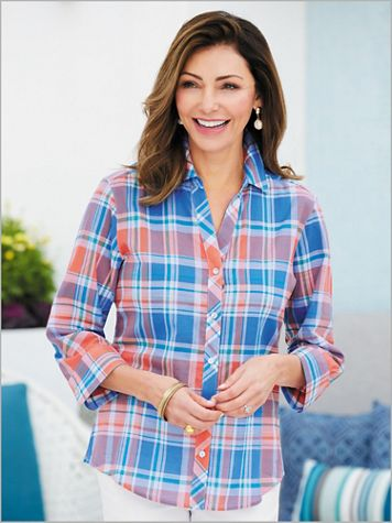 Madras Plaid Shirt by Foxcroft - Image 2 of 2
