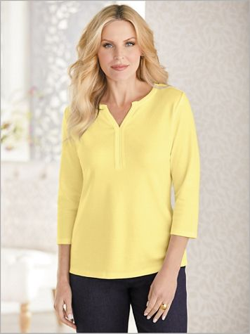 Basic Cotton Poly Split Neck 3/4 Sleeve Trimmed Tee - Image 0 of 1