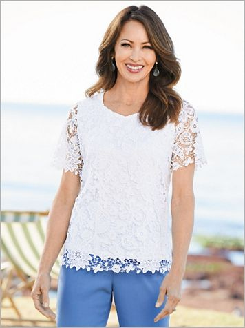 Sweetheart Lace Floral Top - Image 1 of 3