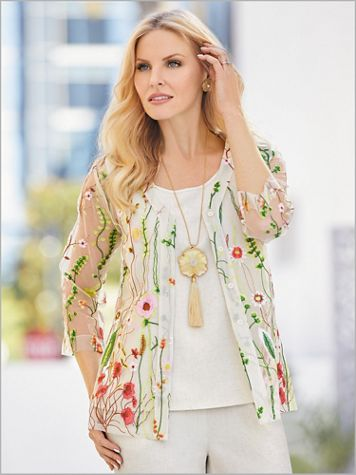 Embroidered Garden Mesh Shirt - Image 0 of 1