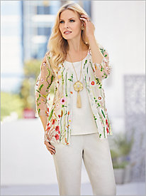 Embroidered Garden Mesh Shirt & Look-Of-Linen Separates