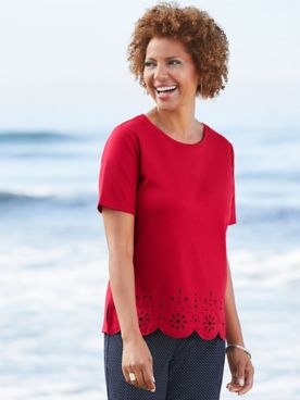 Eyelet Trim Tee by Brownstone Studio®