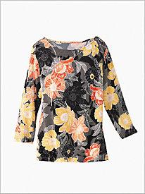 Floral Blooms Print Knit Top