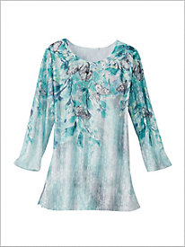 Versailles Allover Floral Knit Top by Alfred Dunner