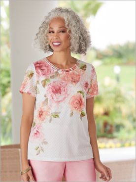 Society Page Floral Asymmetric Top by Alfred Dunner