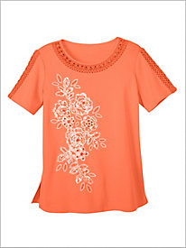 Martinique Appliqué Floral Knit Top by Alfred Dunner