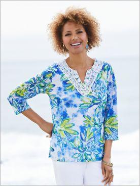 Waikiki Batik Tropical Tunic by Alfred Dunner