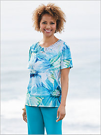 Waikiki Exploded Floral Knit Top by Alfred Dunner