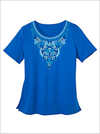 Waikiki Scroll Yoke Embroidered Knit Top by Alfred Dunner