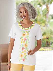 Endless Weekend Embroidered Flowers Tee by Alfred Dunner
