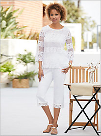 Cayman Islands Solid Lace Top & Border Lace Capris by Alfred Dunner