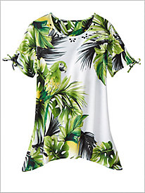 Cayman Islands Parrot Print Knit Top by Alfred Dunner