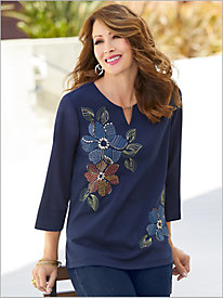 Lake Tahoe Asymmetric Embroidered Knit Top by Alfred Dunner