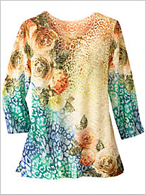 Lake Tahoe Animal Floral Knit Top by Alfred Dunner