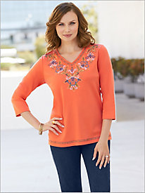Lake Tahoe Embroidered Yoke Knit Top by Alfred Dunner