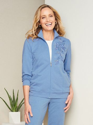Alfred Dunner Embroidered French Terry Jacket - Image 1 of 3