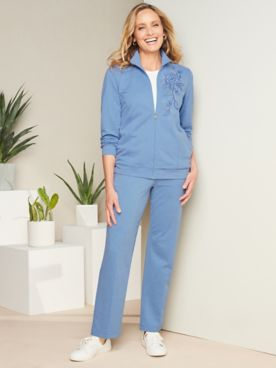 Embroidered French Terry Jacket & Pants by Alfred Dunner