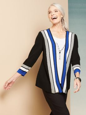 Alfred Dunner Cascade Stripe Two-For One Top