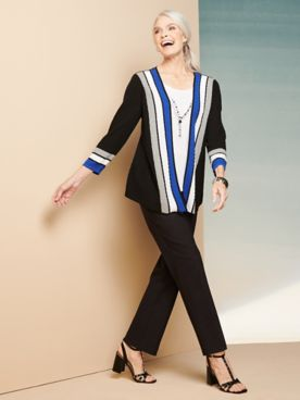 Cascade Stripe Two-For-One & Pants by Alfred Dunner