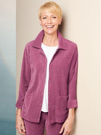 Knit Cord Shirt Long Sleeve Jacket - Image 1 of 4