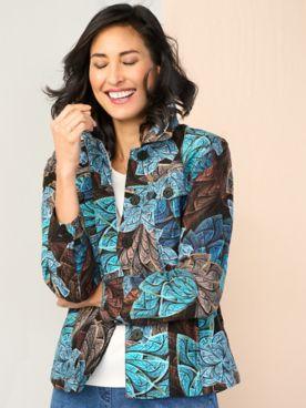 Pinwheel Print Jacquard Long Sleeve Jacket