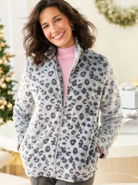 Alfred Dunner Animal Sculpted Faux Fur Jacket