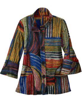 Abstract Print Long Sleeve Jacket