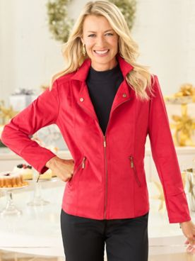 Knit Faux Suede Moto Jacket