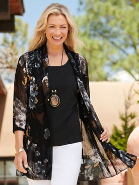 Midnight Blooms Print Mesh 3/4 Sleeve Jacket