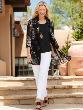 Midnight Blooms Print Mesh Jacket & Signature Knits® Separates