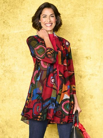 Picasso Print Mesh 3/4 Sleeve Jacket - Image 2 of 2