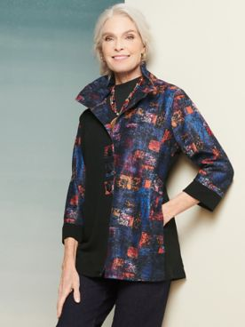 Stamp Print Button Front 3/4 Sleeve Jacket