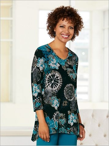 Geo Floral Textured Top - Image 1 of 1