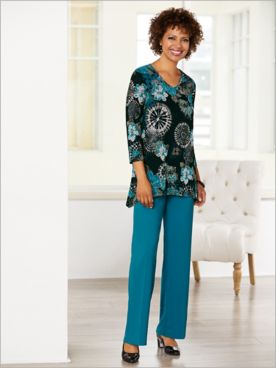 Geo Floral Textured Top & Textured Stretch Crepe Pants